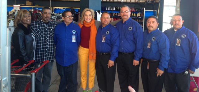 ABLA board member Sharon Stone with outreach and intervention workers in A Better Thrift Shop in Huntington Park